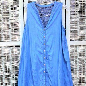 Boho Sleeveless Denim Dress Lacey Back #0017